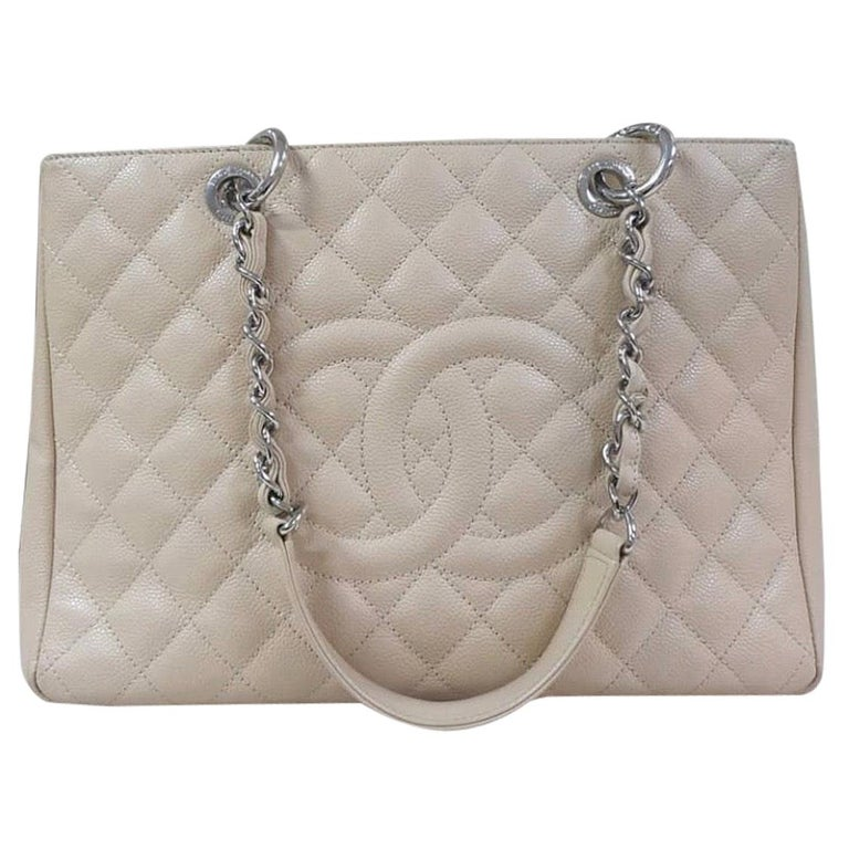 Chanel Caviar Cream Leather Grand Shopping Tote Bag