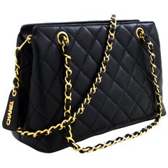 CHANEL Caviar Double Chain Shoulder Bag Black Quilted Leather Zip