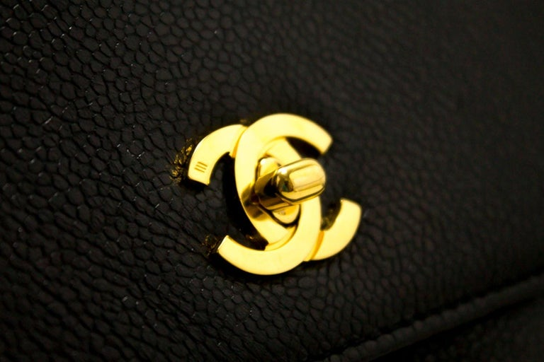 CHANEL Caviar Gold Chain Backpack Bag Black Triple Coco CC Leather For Sale 8