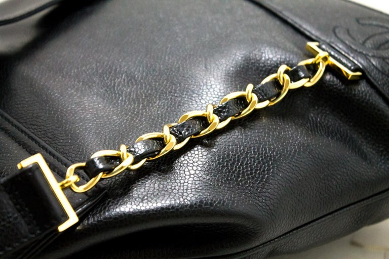 CHANEL Caviar Gold Chain Backpack Bag Black Triple Coco CC Leather For Sale 9