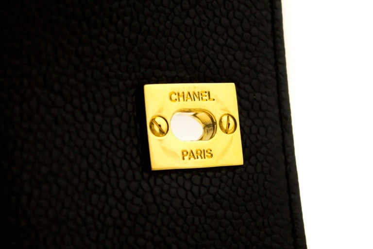 CHANEL Caviar Gold Chain Backpack Bag Black Triple Coco CC Leather For Sale 11