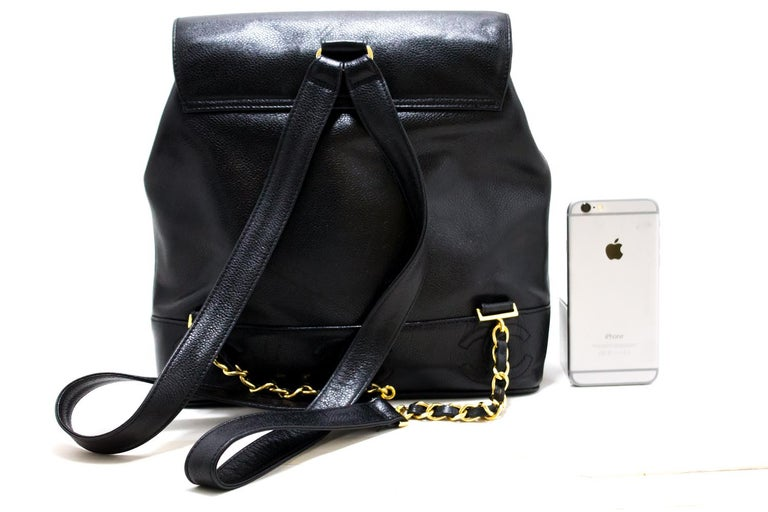 CHANEL Caviar Gold Chain Backpack Bag Black Triple Coco CC Leather In Good Condition For Sale In Takamatsu-shi, JP