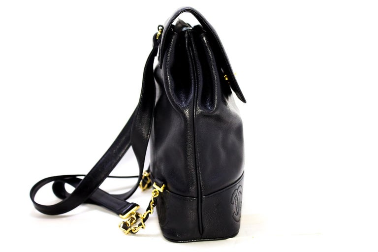 CHANEL Caviar Gold Chain Backpack Bag Black Triple Coco CC Leather For Sale 1