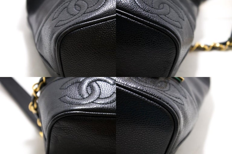 CHANEL Caviar Gold Chain Backpack Bag Black Triple Coco CC Leather For Sale 3