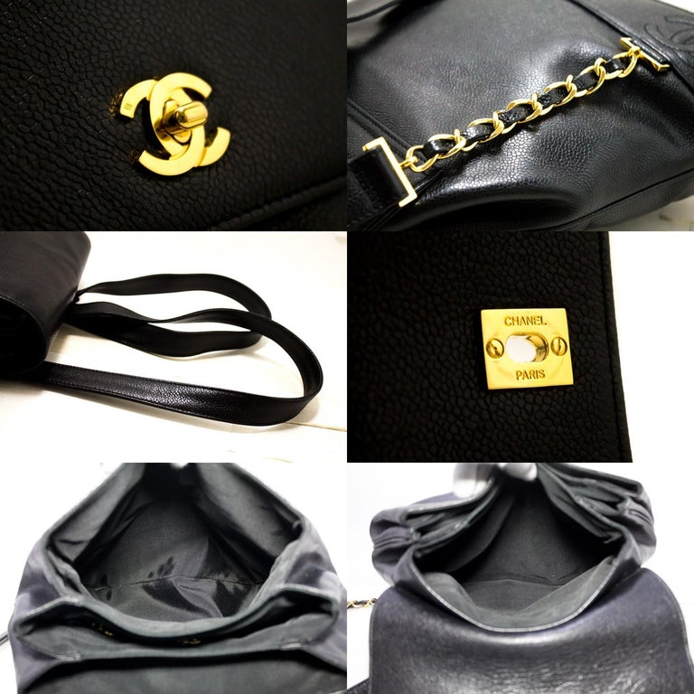CHANEL Caviar Gold Chain Backpack Bag Black Triple Coco CC Leather For Sale 4