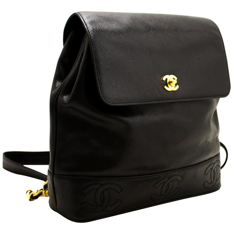 CHANEL Caviar Gold Chain Backpack Bag Black Triple Coco CC Leather For Sale