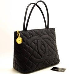 CHANEL Caviar Gold Medallion Shoulder Bag Shopping Tote Black
