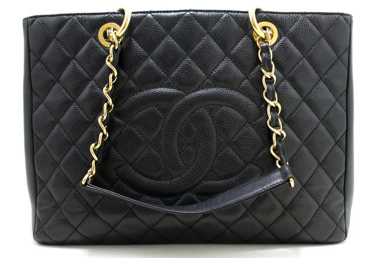 a455658dc3ad42 ... Grand Shopping Tote Chain Shoulder Bag Black. The. An authentic CHANEL  Caviar GST 13