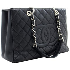"CHANEL Caviar GST 13"" Grand Shopping Tote Chain Shoulder Bag Black"