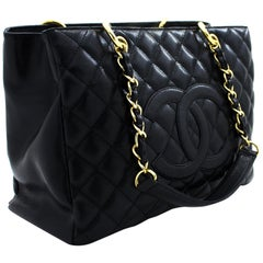 """CHANEL Caviar GST 13"""" Grand Shopping Tote Chain Shoulder Bag Black Leather"""