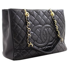"CHANEL Caviar GST 13"" Grand Shopping Tote Chain Shoulder Bag Gold"