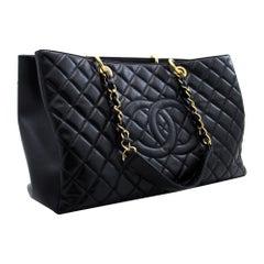 CHANEL Caviar GST Grand Shopping Tote Chain Shoulder Bag Black