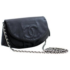 CHANEL Caviar Half Moon WOC Black Wallet On Chain Clutch Shoulder