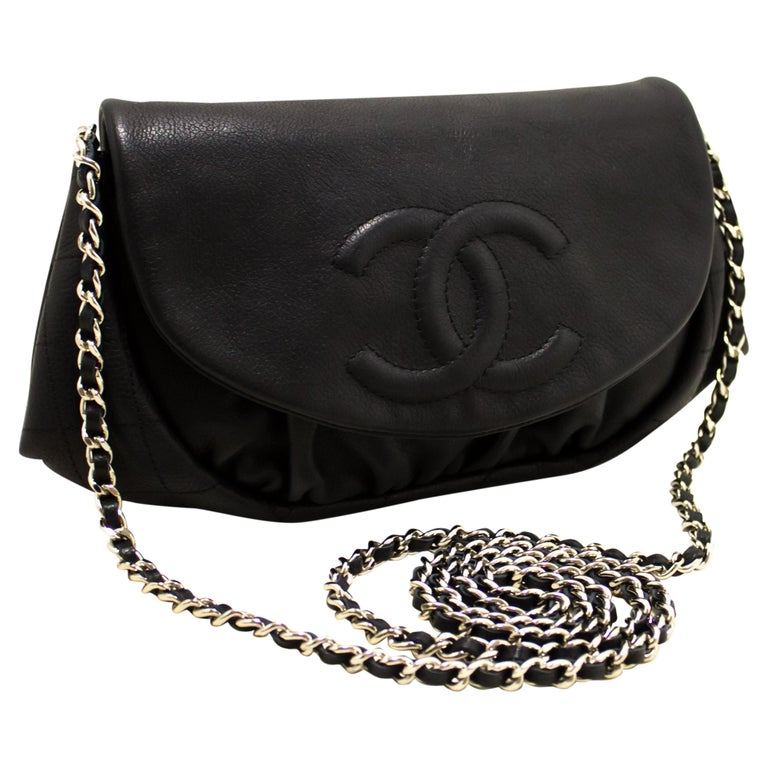 170df2cad4f9 CHANEL Caviar Half Moon WOC Black Wallet On Chain Shoulder Bag For Sale