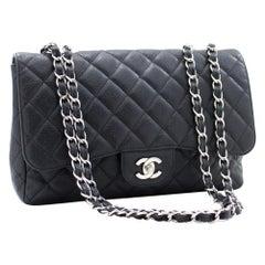 "CHANEL Caviar Jumbo 11"" Chain Shoulder Bag Single Flap Black"