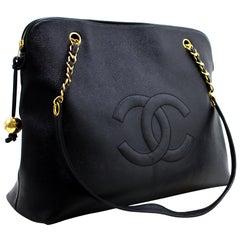 CHANEL Caviar Jumbo Large Chain Shoulder Bag Black Zip Goldper