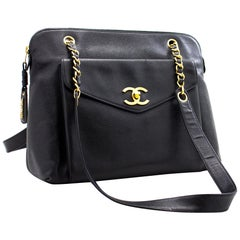 CHANEL Caviar Large Chain Shoulder Bag Leather Black Gold Hardware