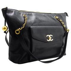 CHANEL Caviar Large Chain Shoulder Bag Leather Black Gold Hardware