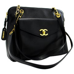 CHANEL Caviar Large Chain Shoulder Bag Leather Black Gold Hw