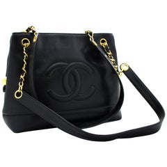 CHANEL Caviar Large Chain Shoulder Bag Leather Black Zip Goldper