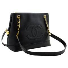 CHANEL Caviar Large Chain Shoulder Bag Leather Black Zip Goldper