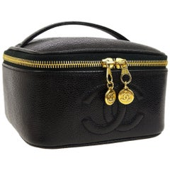 Chanel Caviar Leather Gold Men's Women's Cosmetic Vanity Train Travel Bag in Box