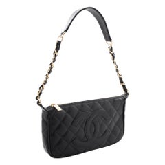 CHANEL Caviar Mini Small Chain One Shoulder Bag Black Quilted Leather