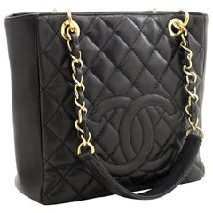 CHANEL Caviar PST Chain Shoulder Shopping Tote Bag Black Quilted
