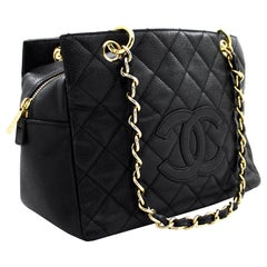 CHANEL Caviar PST Chain Shoulder Shopping Tote Bag Black Quilted Leather