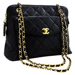 CHANEL Caviar Quilted Chain Shoulder Bag Leather Black Gold Hw