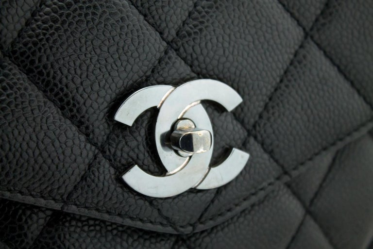 CHANEL Caviar Quilted Chain Shoulder Bag Leather Black Silver 8