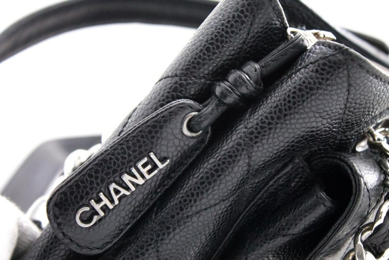 CHANEL Caviar Quilted Chain Shoulder Bag Leather Black Silver 9