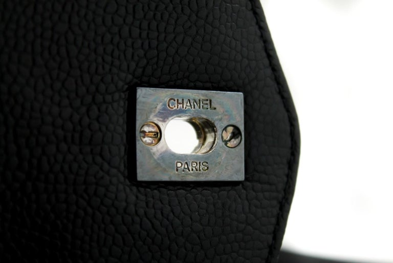 CHANEL Caviar Quilted Chain Shoulder Bag Leather Black Silver 12
