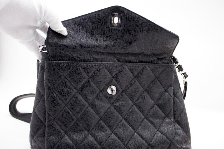 CHANEL Caviar Quilted Chain Shoulder Bag Leather Black Silver 16