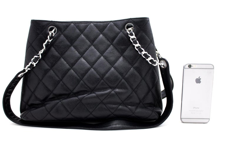 CHANEL Caviar Quilted Chain Shoulder Bag Leather Black Silver In Good Condition In Takamatsu-shi, JP