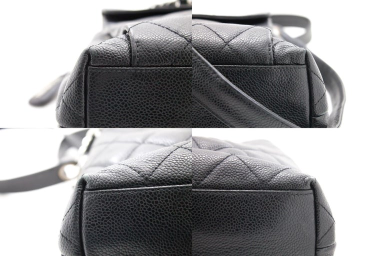 CHANEL Caviar Quilted Chain Shoulder Bag Leather Black Silver 2