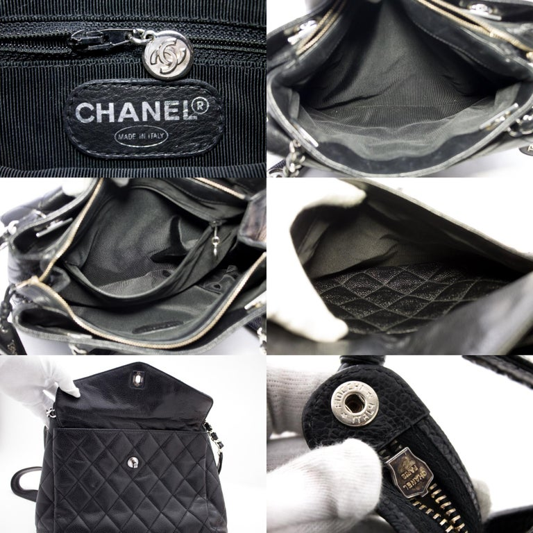 CHANEL Caviar Quilted Chain Shoulder Bag Leather Black Silver 4
