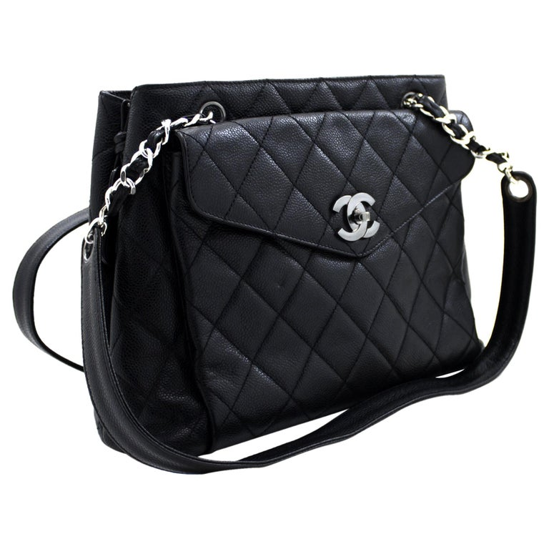 CHANEL Caviar Quilted Chain Shoulder Bag Leather Black Silver