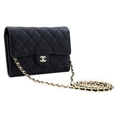 CHANEL Caviar Small WOC Wallet On Chain Black Shoulder Bag Purse