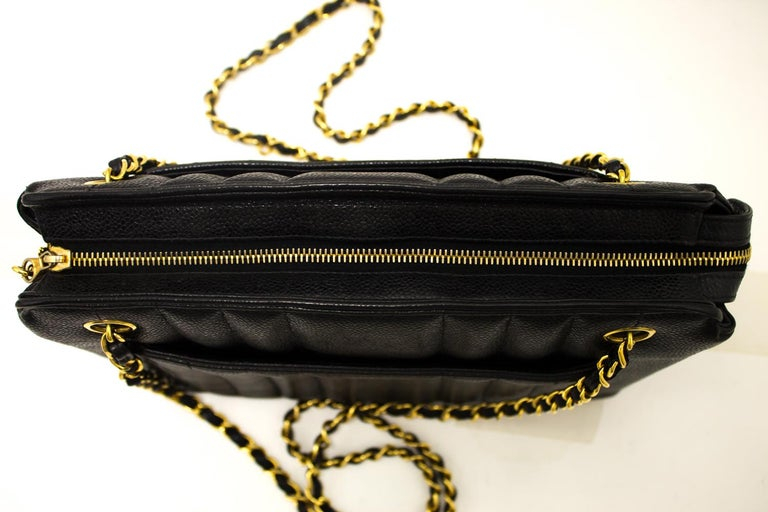 1711e53a9 CHANEL Caviar Sun Gold Chain Shoulder Bag Black Quilted Leather For Sale 3