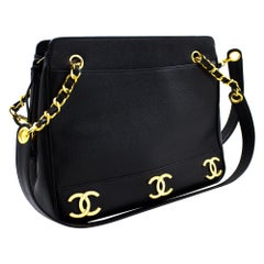 CHANEL Caviar Triple Coco Chain Shoulder Bag Leather Black Gold Hw