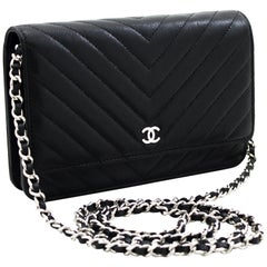 CHANEL Caviar V-Stitch WOC Wallet On Chain Black Shoulder Bag Leather