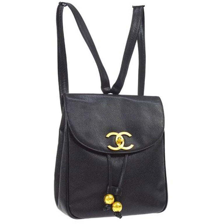 Chanel Caviar Vintage Black Leather Backpack In Good Condition For Sale In Miami, FL