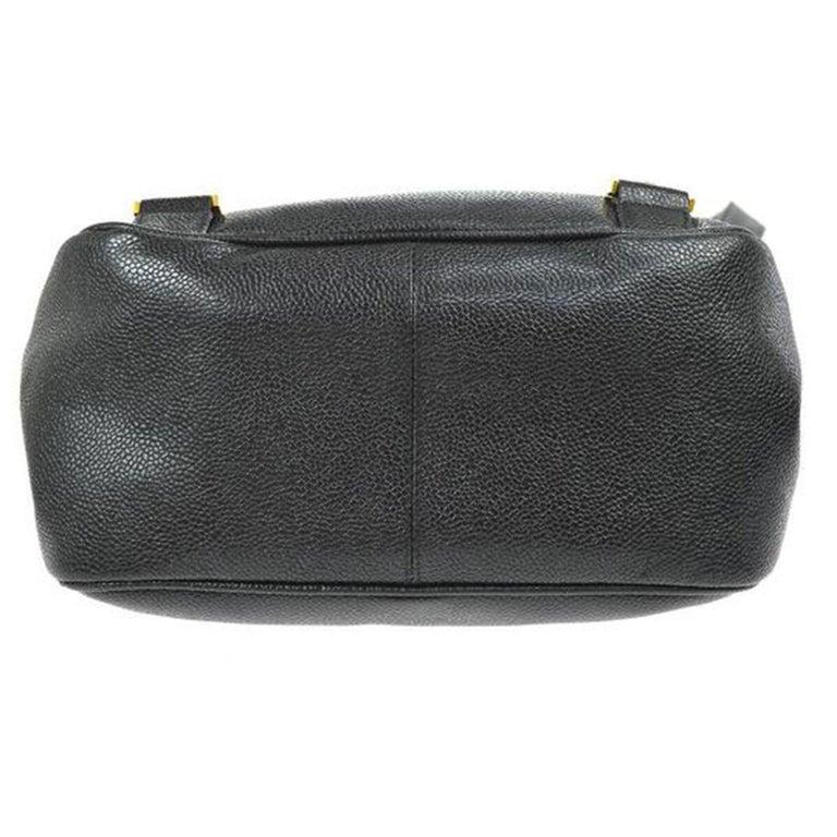 Women's or Men's Chanel Caviar Vintage Black Leather Backpack For Sale