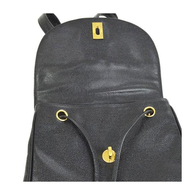 Chanel Caviar Vintage Black Leather Backpack For Sale 1