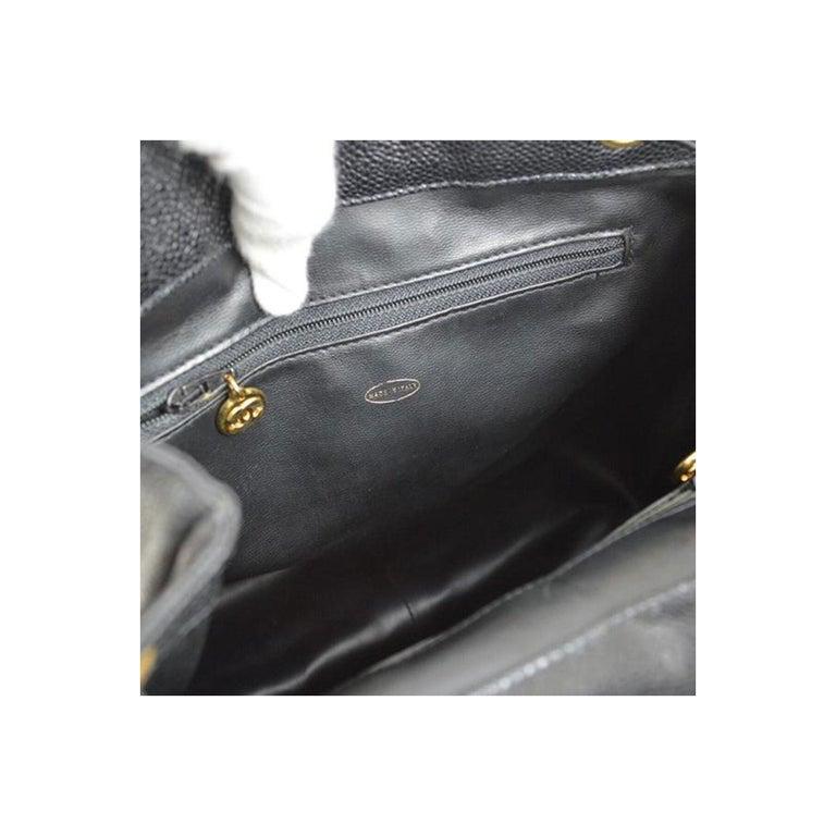 Chanel Caviar Vintage Black Leather Backpack For Sale 2