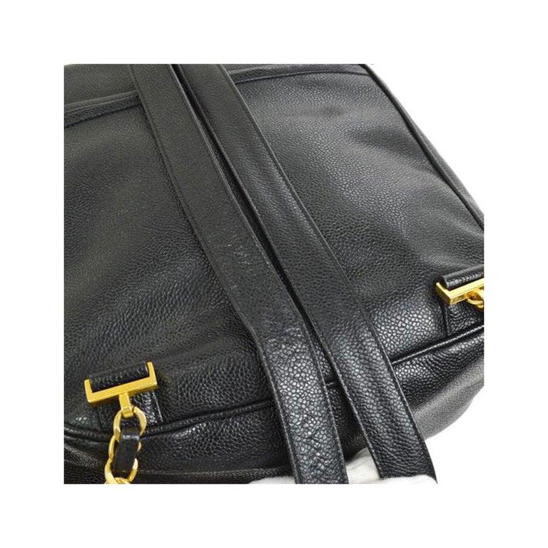 Chanel Caviar Vintage Black Leather Backpack For Sale 3