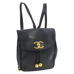 Chanel Caviar Vintage Black Leather Backpack