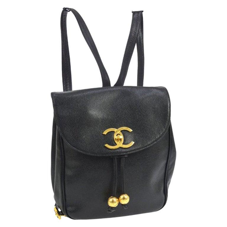 Chanel Caviar Vintage Black Leather Backpack For Sale