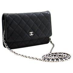 CHANEL Caviar WOC Wallet On Chain Black Shoulder Crossbody Bag
